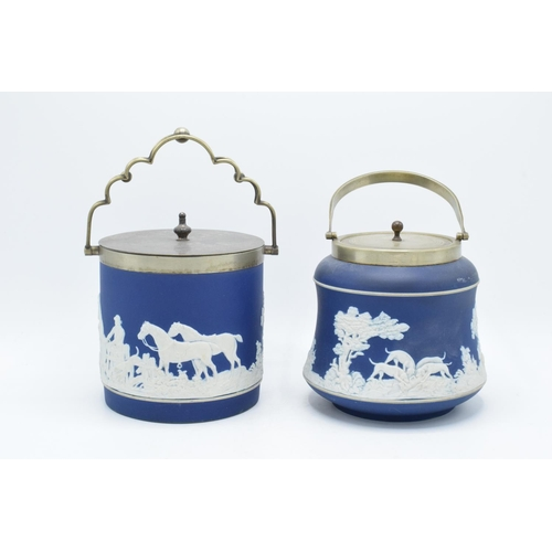 41 - Adams of Tunstall dark blue jasperware biscuit barrels both with silver plate rims and lids (2). In ...