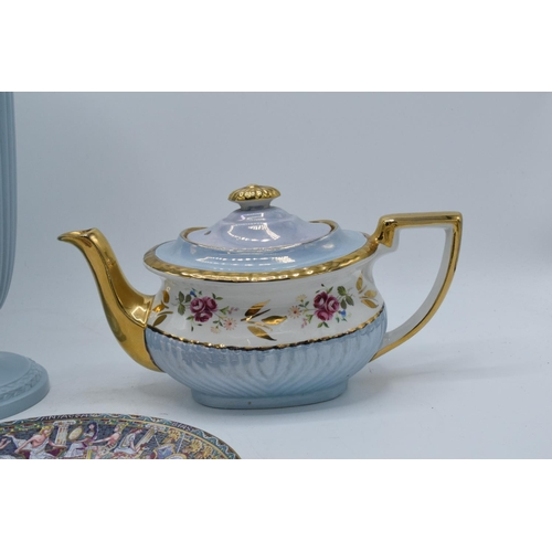 8 - A collection of items to include a large Wedgwood Queensware vase, a Royal Worcester plate of Pegasu...