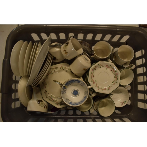 9 - A large collection of mixed tea and dinner ware to include Royal Doulton, Coalport, Johnson Brothers...