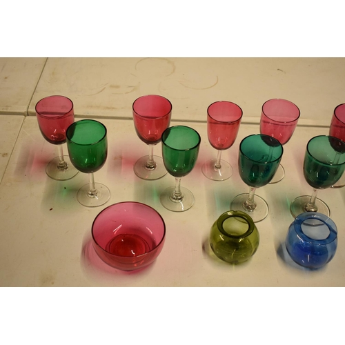 10A - A collection of various coloured 20th glass to include wine glasses of different sizes, bowls etc (s...