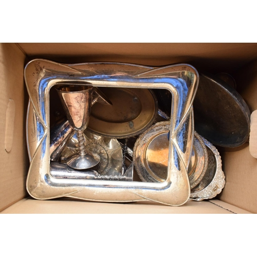 10b - A collection of metal ware and silver plate to include goblets, bowls, large frame etc