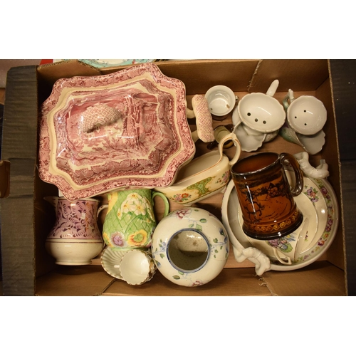 10e - A collection of mainly 19th century pottery to include Masons Tureen af, Royal Winton etc. Condition...