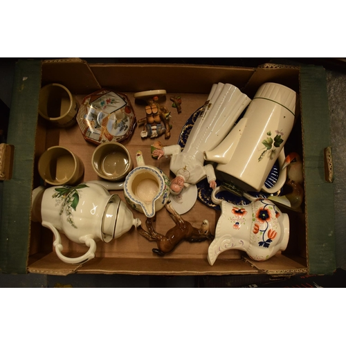 10m - A mixed collection of items to include a Doulton Pope figure (af), tea pots, stoneware etc. Conditio...