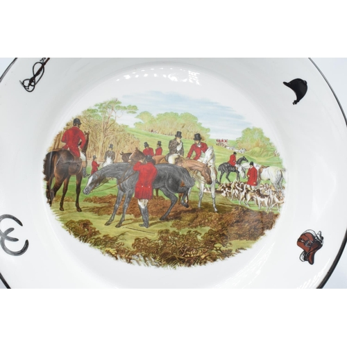 10o - Large shallow bowl depicting a hunting scene of J.F Herring and Son, made by China Originals of Cong...