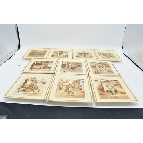 10q - Newhall Pottery of Hanley Dickens wall plaques. In good condition, age related crazing throughout, 1...