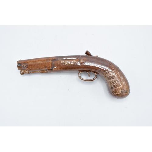 181 - A near pair of Doulton and Watts salt glaze duelling pistol spirit flasks, circa 1840s. Both present...