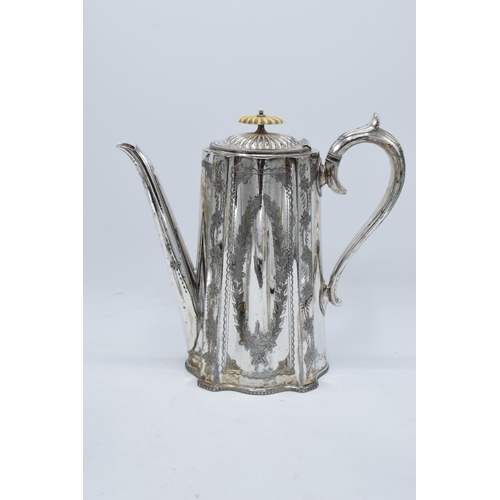 219 - A silver plated coffee set to include coffee pot, milk and sugar (3). 24cm tallest.