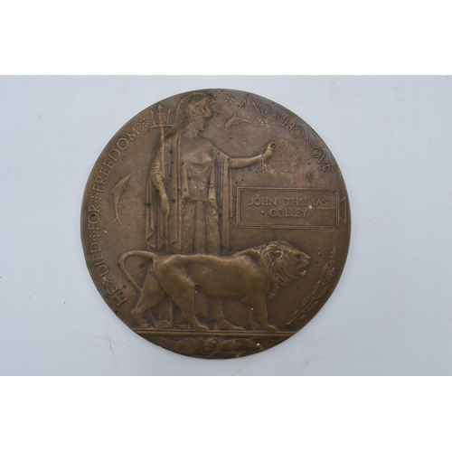 220 - A British World War One (WW1) Death Plaque/ Death Penny named to John Thomas Colley.