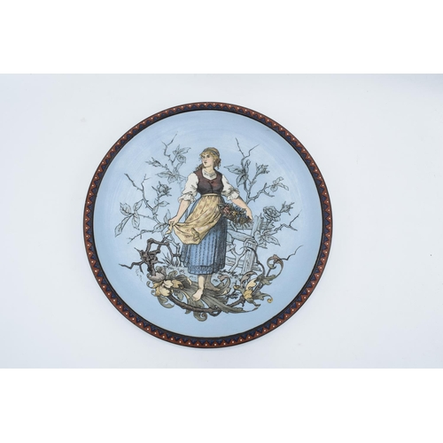3 - Late 19th century Mettlach (Villeroy and Boch) wall charger after C. Warth decorated with a lady hol...