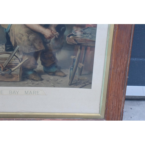 42 - A framed Pears print 'Shoeing the Bay Mare'. 83 x 62cm inc frame.