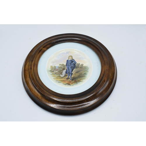 43 - A Royal Cauldon plate of The Blue Boy by Gainsborough set in a wooden wall mount together with a Roy...