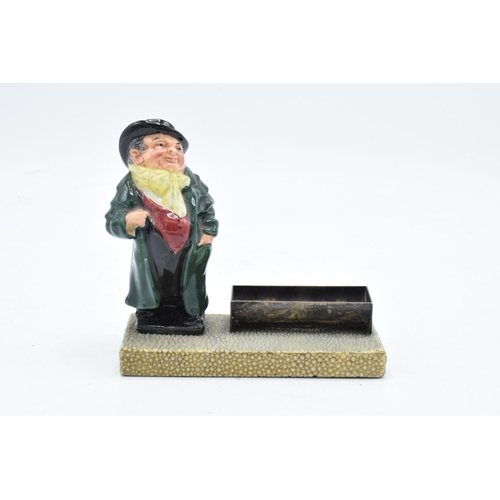 48 - Royal Doulton Dickens figure Tony Weller set on a base with a hallmarked silver trough/ desk tidy. I...