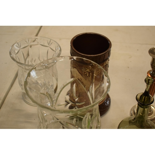 55 - A mixed collection of items to include green glass dressing table trays, copper and silver plate can...