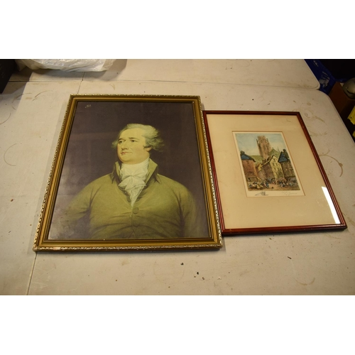 62 - A pair of 20th century framed prints, one of which depicting a gentleman, the other of a street scen...