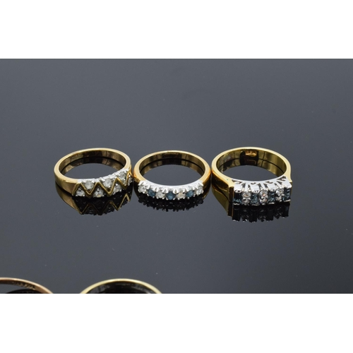 66 - Three 9ct gold & yellow coloured metal rings testing as 9ct gold, together with YCM seed pearl brooc...