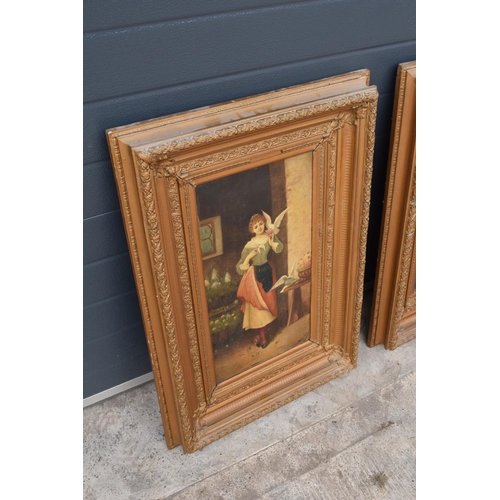 80 - A pair of 19th century oil paintings on canvas depicting pretty ladies in room settings. Indistinctl...
