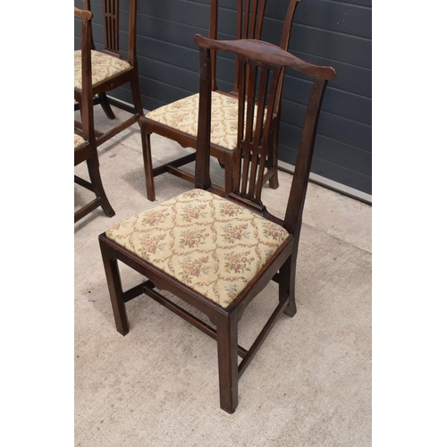 95 - George III mahogany set of county Chippendale style dining chairs to consist of 2 carver chairs toge...