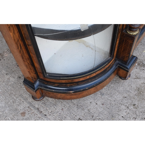 285A - A Victorian breakfront credenza with flanking display cabinets. All with working lock and key. Gener...