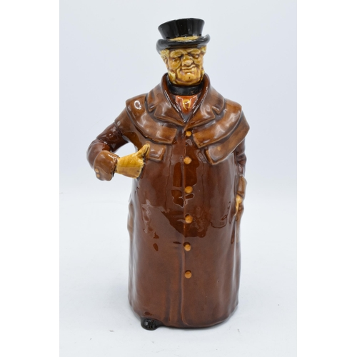 122 - Royal Doulton Kingsware whisky decanter in the form of a Coachman with a silver plated rim. In good ...