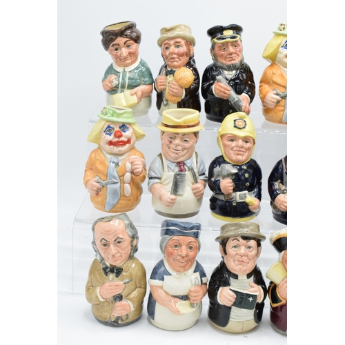 124 - A good collection of Royal Doulton Doultonville Toby jugs to include Len Lifeboat D6811, Pat Parcel ...