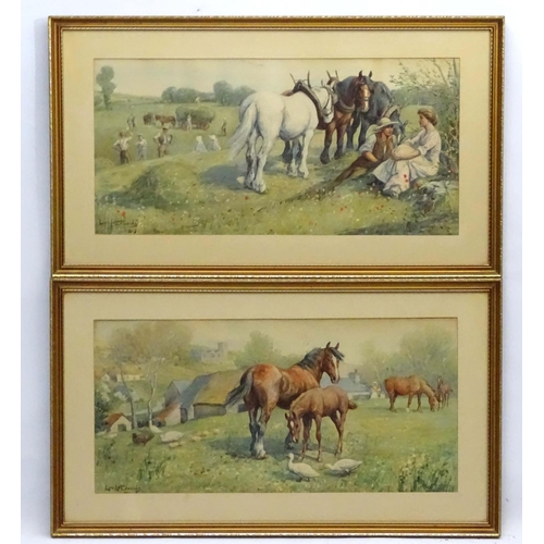 101 - After Lionel Dalhousie Roberston Edwards (1878-1966), Coloured print 1902 , A pair, Mares and foals ...