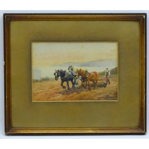 102 - Mabel Amber Kingwell (XIX-XX), Watercolour, 3 heavy horses working in a field, next to the Devon sea...
