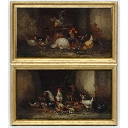 103 - Claude Guilleminet (1821-1860) French, Oil on mahogany fielded panel, Country house Fowl , a Peacock...