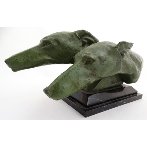 105 - Art Deco Style Green patinated bronze sculpture, Heads of a pair of racing  greyhounds, Mounted on a...