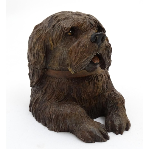 109 - A 21stC hand painted cast bronze novelty inkwell in the form of a Shaggy Dog 4 3/4