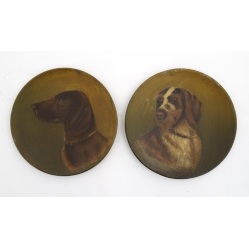 111 - Gundogs : LB 1914 A pair of 19 thC tin plates hand painted in oil with portrait of dogs;  a German W...