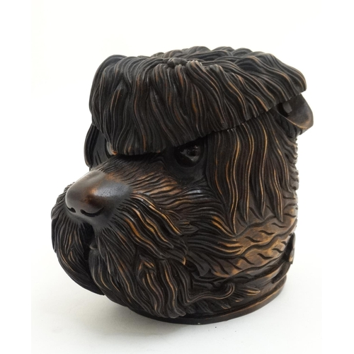 112 - Black Forest : a 20thC tobacco Jar in the form of a shaggy dog with glass eyes , 7 1/4'' high...