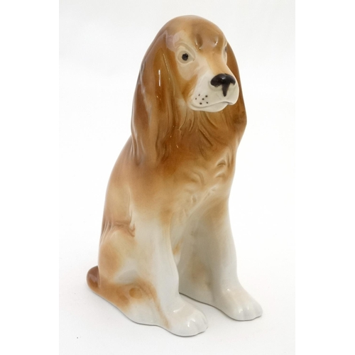 115 - A Royal Dux Bohemia model of a Spaniel Dog , bears pink triangle and makers stamp to base. 5 1/4'' h...