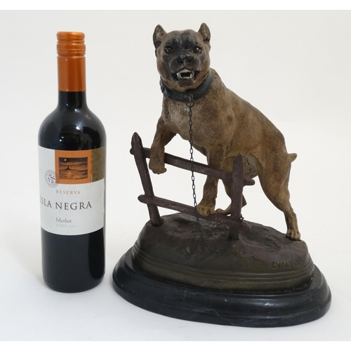 116 - After C. Valton A cold painted large cast bronze of a bull mastiff tethered to a fence on an oval ba...