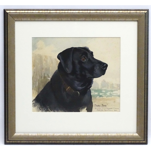 121 - Reuben Ward Binks (1880-1950) British Canine School, Watercolour Dog portrait,  ' Fintry Tank ' ...1...