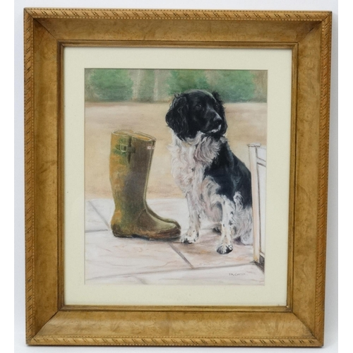 133 - Pat Cottee XX, Pastels,  ' I'm waiting ' a Spaniel dog sits patiently waiting for a walk by a pair o...