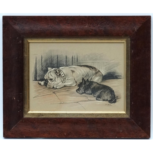 135 - After ' Mac ' ( Lucy Dawson c.1936-1957), Coloured print, Bulldog and Black West Highland Terrier , ...