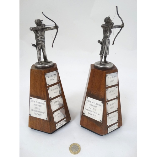 140 - Archery: A pair of 1956 - 1960 '' High Wycombe Bowmen '' Mens and Ladies, Championship trophies, eac...