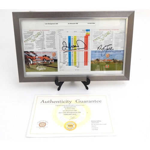 143 - Golf: Three signed Siloth Golf Club score cards, autographed by Sir Nick Faldo, Ian Woosnam OBE and ...