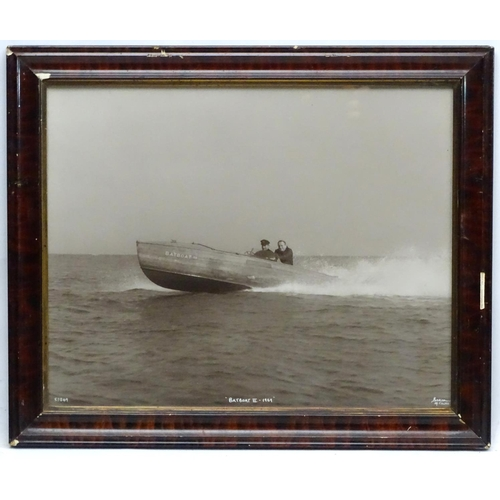 145 - Motorboating - A large c1969 framed photograph of '' Batboat III'' by Beken off Cowes; depicting the...
