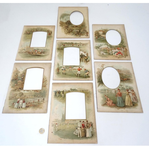 148 - Sports: A collection of  7 c1880 chromolithographed window mounts decorated with sporting scenes suc...