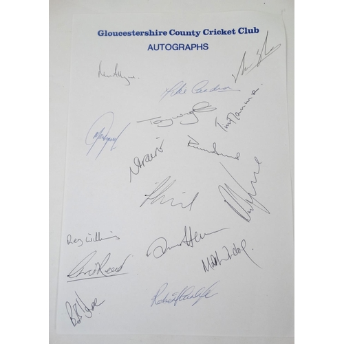 149 - Cricket: A collection of autographs from the Gloucestershire County Cricket Club 1997 squad, to incl...