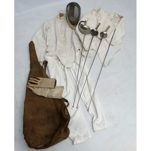 152 - Fencing: A collection of Fencing items to include 2 G Soudet , Paris, number 5 foils, a G Soudet, Pa...