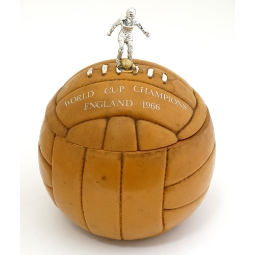 153 - Football: A 1966 '' World Cup Champions England 1966 '' ice bucket formed as a brown football, title...