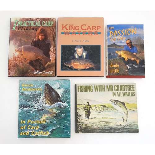 21 - Fishing books: A collection of 5 books on fishing , to include; '' Fishing with Mr Crabtree in all w...