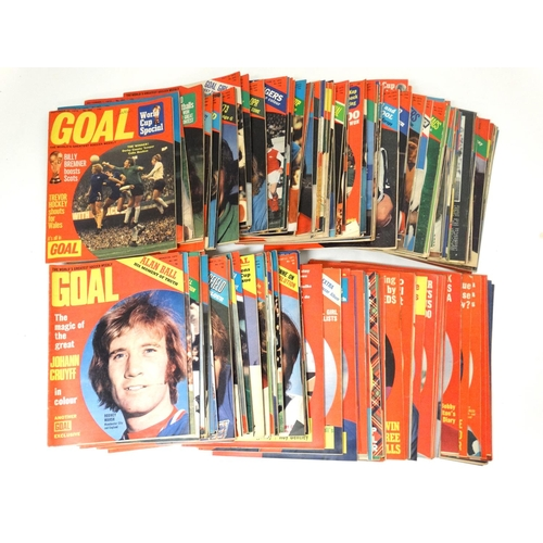 32 - Football: A large collection of approximately 52  1960s and 70s issues of '' Goal '' magazine ,  par...