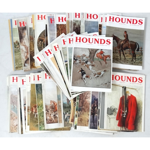 49 - Hunting: A large collection of approximately 89 1990s and 00s ''Hounds '' magazines. (89 approx)...
