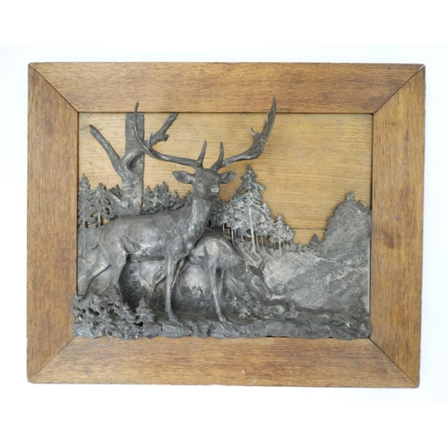 87 - Georg G Bommer XIX-XX, Relief Sculpture  plaque, Deer Stag and Doe at the edge of a wood, Signed low...