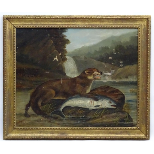 90 - H Windred 1878 Sporting Folkart, Oil on canvas, Otter with a salmon, Signed and dated lower left. 22...