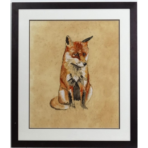 91 - Indistinctly signed early XX, Watercolour and gouache,  A seated fox, Signed lower right. Aperture  ...