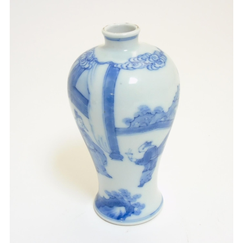 25 - A small Chinese blue and white Meiping vase, decorated in underglaze blue with imperial figures in a...